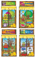 Four Seasons Windows Bulletin Board Set