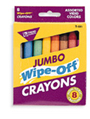 Wipe-Off Crayons, Jumbo Size, 8 assorted
